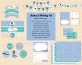 DIY Custom Printable Mermaid Birthday Party Set - Starfish, Kelp, Bubbles and Mermaid- Custom Mermaid and Accent Color- Printable Custom Set
