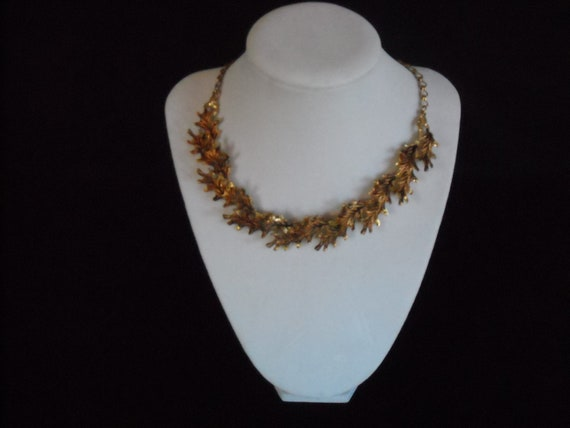 vintage fall leaves  choker necklace....44