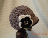 Girls Crochet Flower Newsboy Hat, Made to order in any color combination!