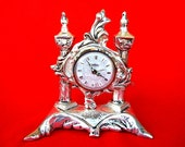 New OLD STOCK Vintage PETER Germany Winding Alarm Clock in Brass Cast  Base Silver Plated