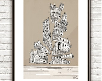 Gothic Gravitation, Surrealism, architectural Drawing, Architecture sketch