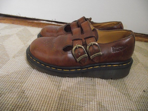 Vintage Brown Leather Doc Marten Mary Janes, Size 5