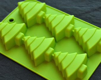 6 Christmas Tree Flexible Silicone Soap Molds Chocolate Mold Cake Candle Mould
