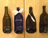 SET 3 Bowls 1 Plate Slumped Melted Flattened Flat Wine Bottle Cheese Tray Spoon Rest Glass Plate Eco Gift