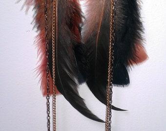 "Bronze Rooster Bird Feather Earrings - ""Falcon"""