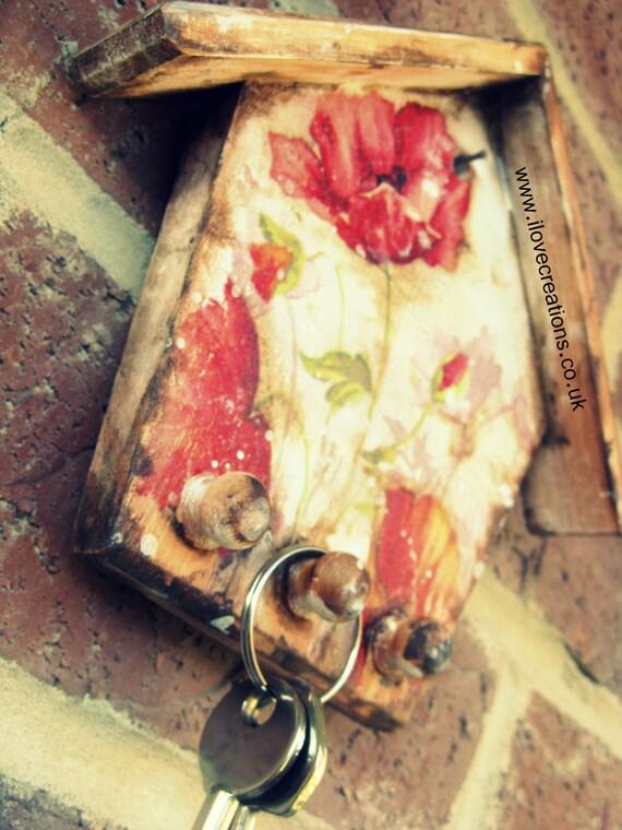 A little house for  keys, decoupaged wooden key holder, hanger
