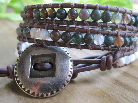 Fancy Jasper and Mother of Pearl Leather Wrap Bracelet with a Silver Tree of Life Charm