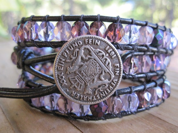 Faceted Purple Mix Glass Beads Leather Wrap with Vintage Coin Button 3x Wrap