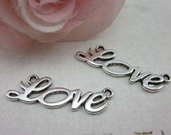 20pcs 10x33mm Cute Antique Silver Love Charm Connector - love in cursive