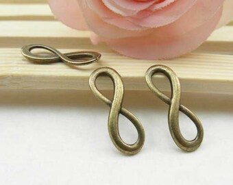 20pcs Antique Brass Infinity Charm Connector - Infinity Symbol Charms Pendant 8x23mm