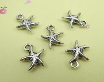 20pcs 20mm Antique Silver Starfish Charm Pendant