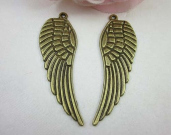 10pcs Antique Brass Angel Wing Charms Pendants 16x48mm