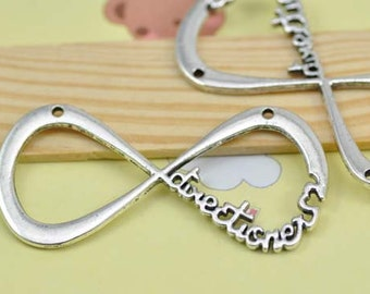 4pcs Antique Silver Infinity Charm Connector - infinity symbol One Direction Charm 30x60mm