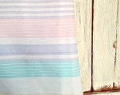 Very Sweet Vintage Queen Fitted Striped Sheet In Soft Color Palate