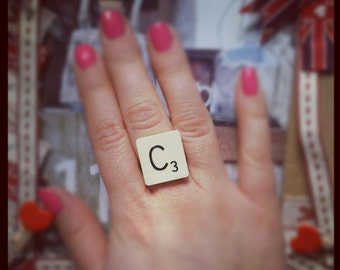 Upcycled Adustable Scrabble Ring FREE Gift Box