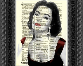Enchanting Elizabeth Taylor Art Print on an Upcyled 1897 Dictionary Page Wall Decor, Art Print, Antique Dictionary Page Art