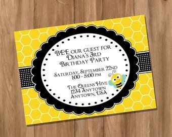 Bumble Bee Birthday Party Invitation (Digital - DIY)