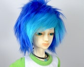 BJD Fur Doll Wig in Dual Color Royal Blue and Turquoise