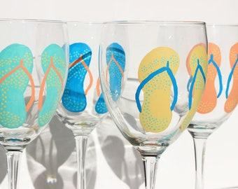 Flip Flop Red Wine Glasses / Set of 4