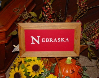 FREE SHIPPING Man cave NEBRASKA sign custom lettered solid cedar wood framed oak finish country rustic bar display