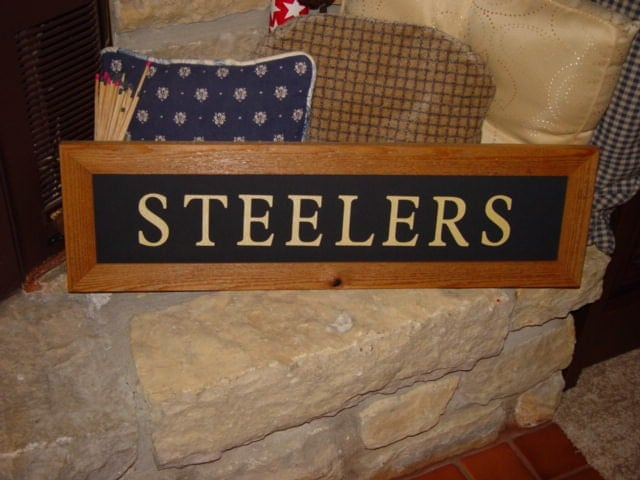 Personalized Man Cave Signs Free Shipping : Free shipping large steelers man cave custom lettered