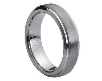Tungsten Carbide Brushed Center Stepped Edge 6mm -Free Engraving