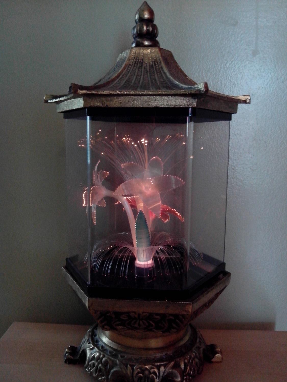 Vintage Fiber Optic Flowers Lamp Rare Metal