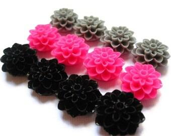 Cute Fridge Magnets, Flower Magnet Set, 12 pcs Hot Pink Gray Black Magnets, Holiday Gift, Housewarming Gifts, Hostess Gifts, Wedding Favors