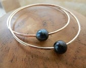 14K Gold Filled Bangle with Tahitian Black Pearl