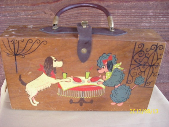 Reduced,,,A Gary Gails 1960s French Poodle Wooden Purse