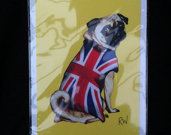 Great British Patriot Pug Yellow from the FUGLY PUGS SERIES - Ltd Edition Print White