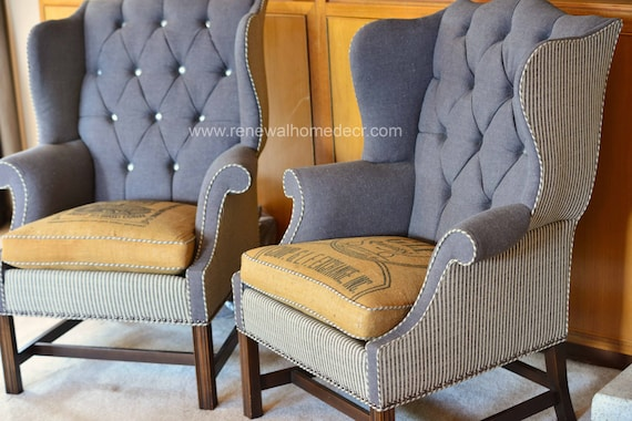 Like this item? - Custom Order Vintage Upholstered Wing Back Chair