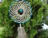 Capri blue, Handmade large dreamcatcher necklace. Boho, hippie, tribal statement necklace
