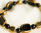 Gold and Black Czech Glass Bracelet