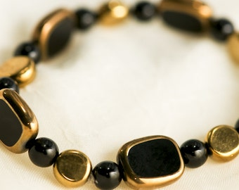 Gold and Black Czech Glass Bracelet