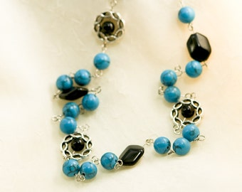 Turquoise and Black Czech Glass Necklace