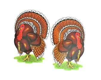 Vintage Thanksgiving Decorations - Thanksgiving Turkey Die Cuts - Vintage Classroom Decorations - Beistle Company - Vintage School Decor