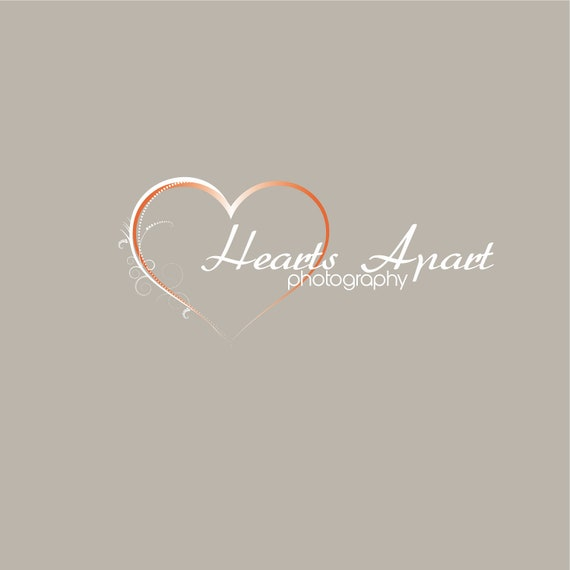 One of a kind Pre-made Logo and Watermark - This WILL NOT be resold - White & Orange Heart