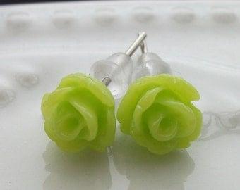 Tiny Lime Rose Earrings