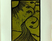 Ocular Vegetation III--Linocut