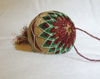 Tamari Ball, Christmas Ornaments, Housewares,  Home Decorations, Japanese Art Form, Home Decor