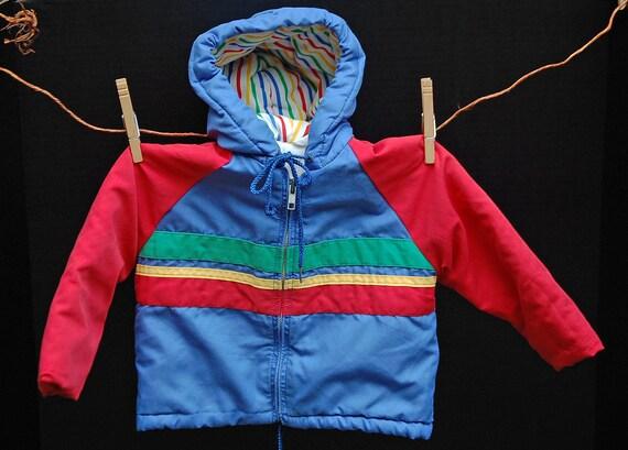 "WINTER SALE:  Vintage Boys ""Winning Moves"" 70s Vintage Jacket in Bold Primary Colors"
