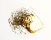 Set of 30 Ecru Hearts Paper Tags, Hand-Cut and Painted in Gold