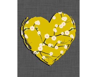 Heart Wall Art, Yellow Gray Wall Decor, Yellow Gray Wall Art, Modern Nursery Art Nursery, Yellow Gray, Yellow Gray Girl Nursery,