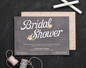 Chalkboard Invitation, Floral Bridal Shower Invite, Chalkboard Party Invitations, Personalized Party Invites