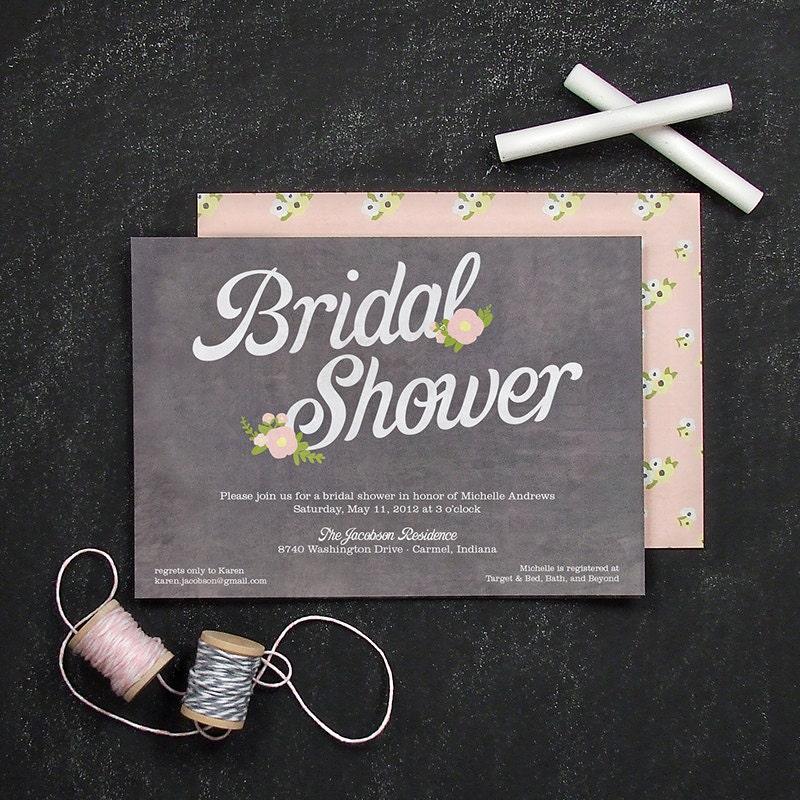 Chalkboard Invitation Floral Bridal Shower By BanterandCharm