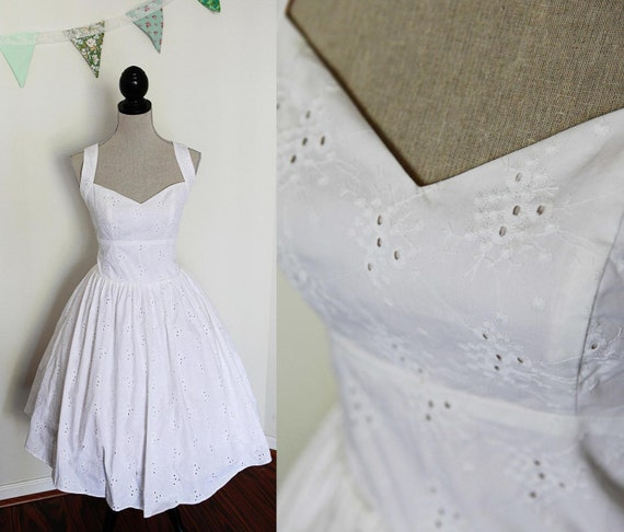 Tea Length Wedding Dress - Cotton Eyelet Lace Fabric - Size Large