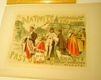 E.A. Moreau- Nelaton, Original Maitres de L'Affiche Poster, French 1898, Plate No.118. Ad for a Passion Play: The Nativity.