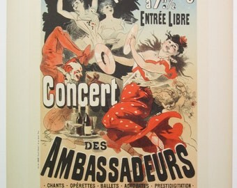 Jules Cheret, Original Maitres de L'Affiche Poster, French 1899, Plate No.165. Ad for Concert des Ambassadeurs' Nightly Musical Shows.
