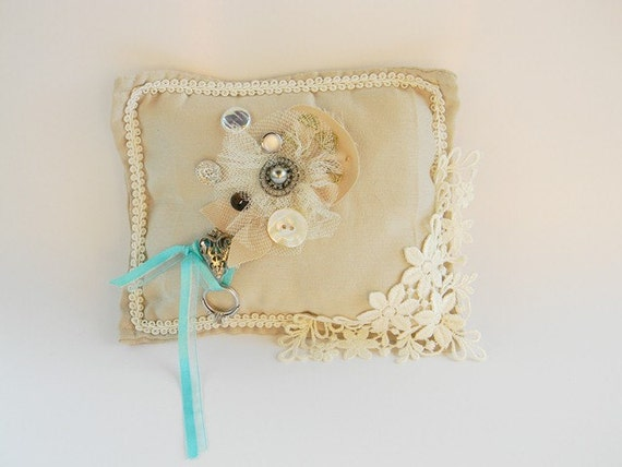 Decorative Ring bearer pillow wedding bridal vintage blue and silver toothfairy